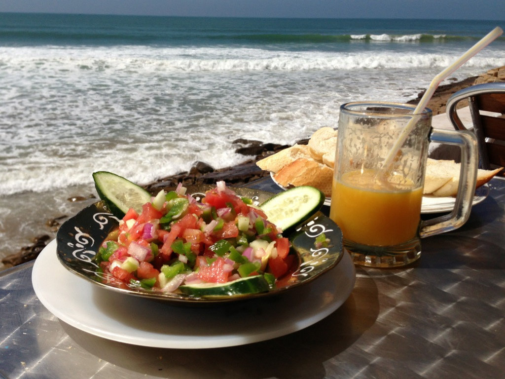 Moroccan salad and freshly squeezed orange juice