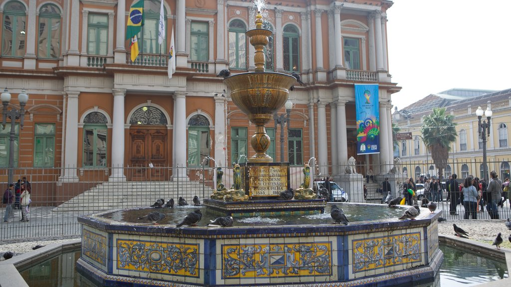 Porto Alegre featuring a fountain, a square or plaza and heritage architecture