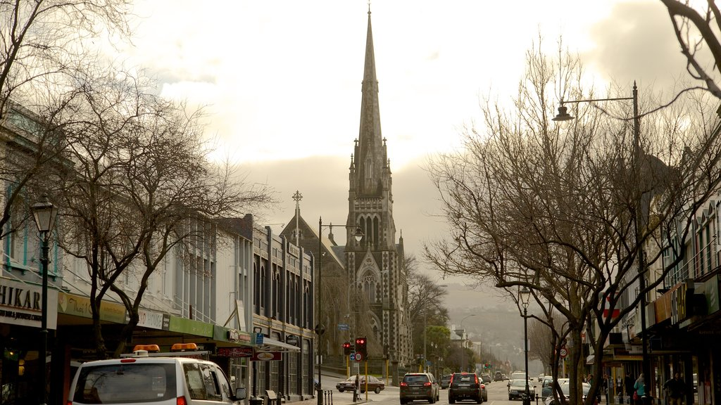 Dunedin featuring street scenes, mist or fog and a church or cathedral