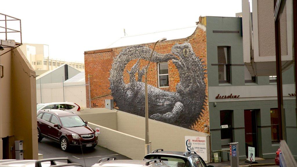 Dunedin mostrando escenas urbanas y arte al aire libre