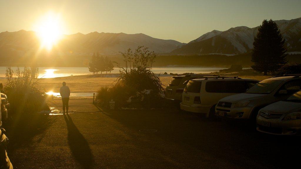 Lake Tekapo featuring a sunset