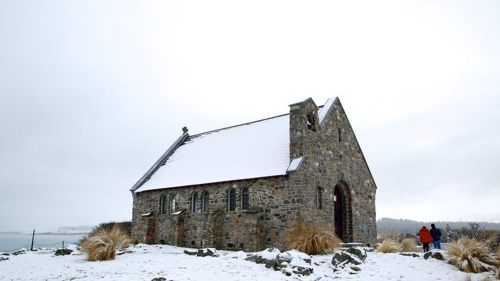 Church of the Good Shepherd showing snow, heritage architecture and a church or cathedral