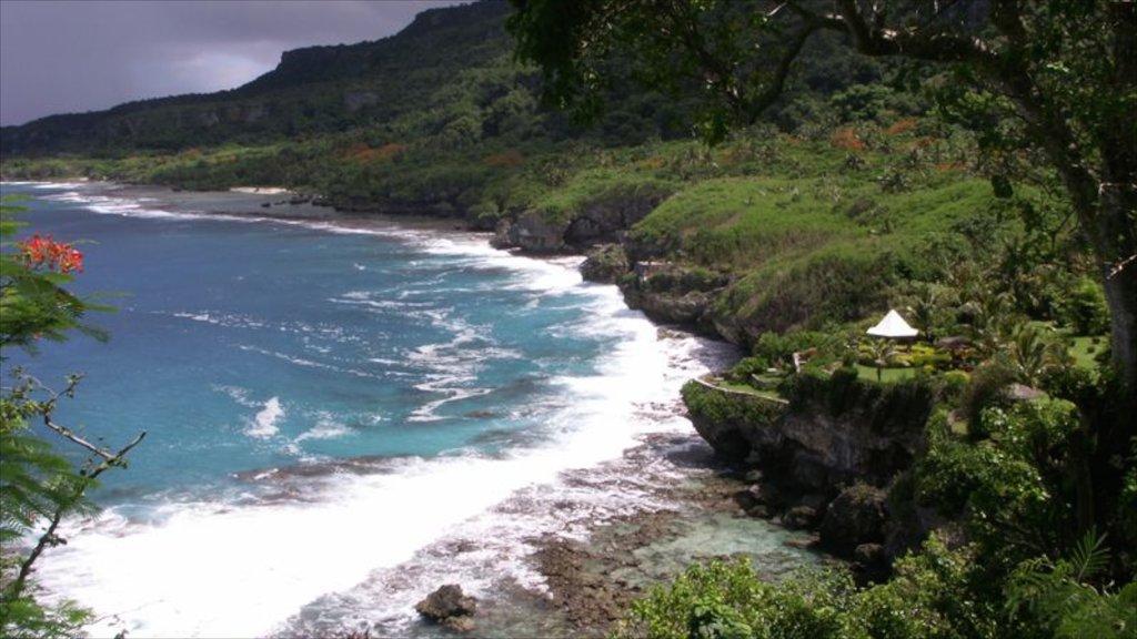 Saipan featuring landscape views and rugged coastline