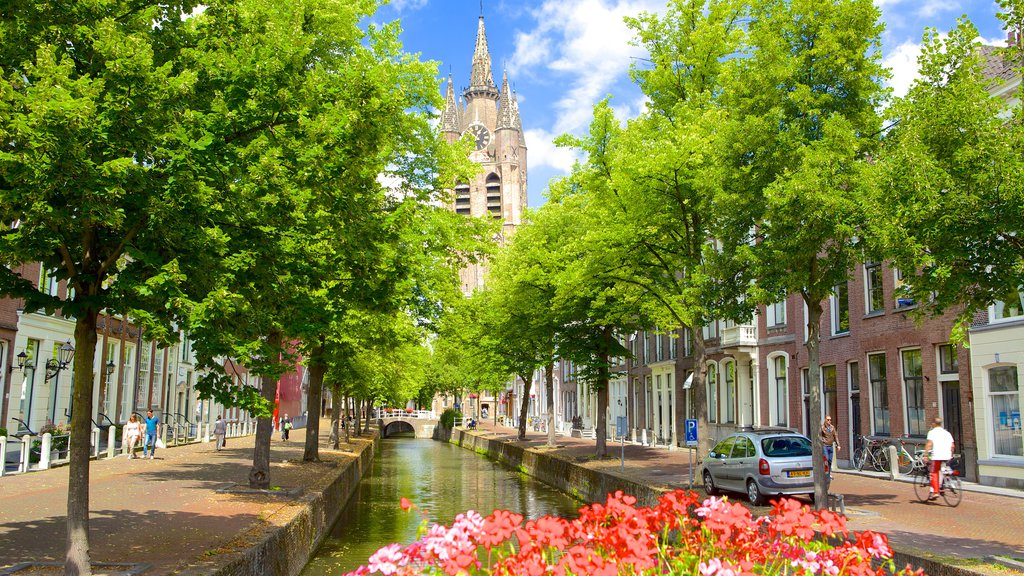 Oude Kerk featuring a river or creek and street scenes