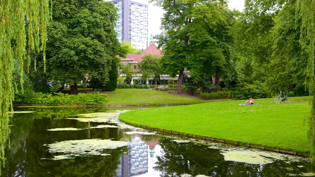 Euromast featuring a garden, landscape views and a lake or waterhole