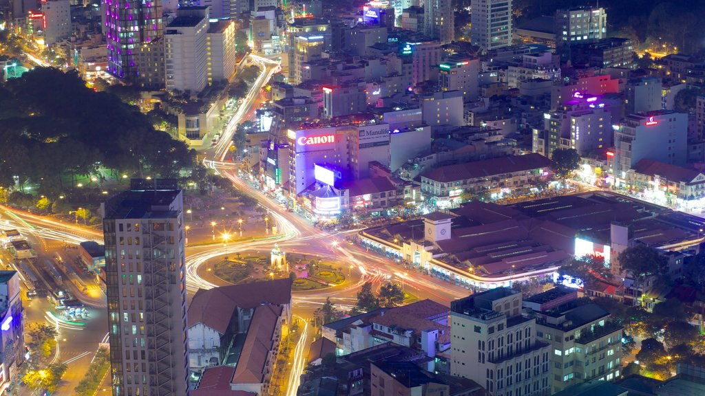 Ho Chi Minh City showing night scenes and a city