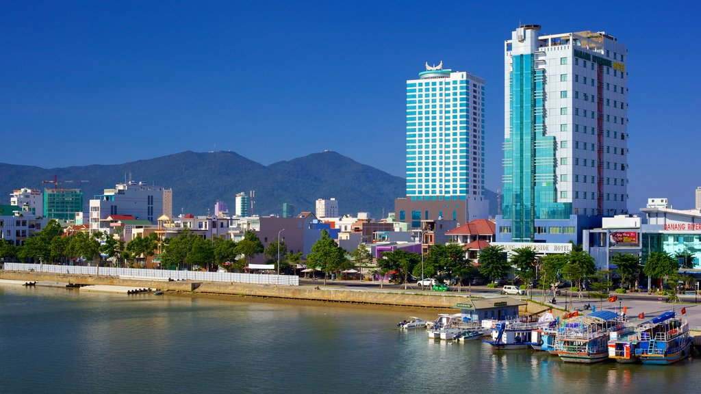 Da Nang which includes general coastal views, central business district and boating