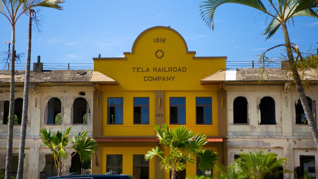 Tela which includes tropical scenes and street scenes