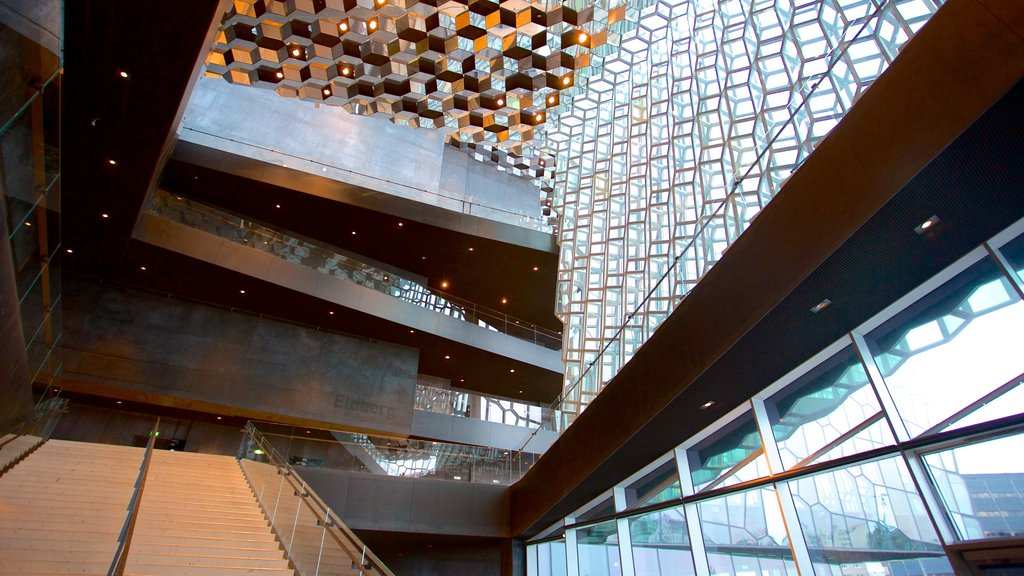 Harpa showing modern architecture and interior views