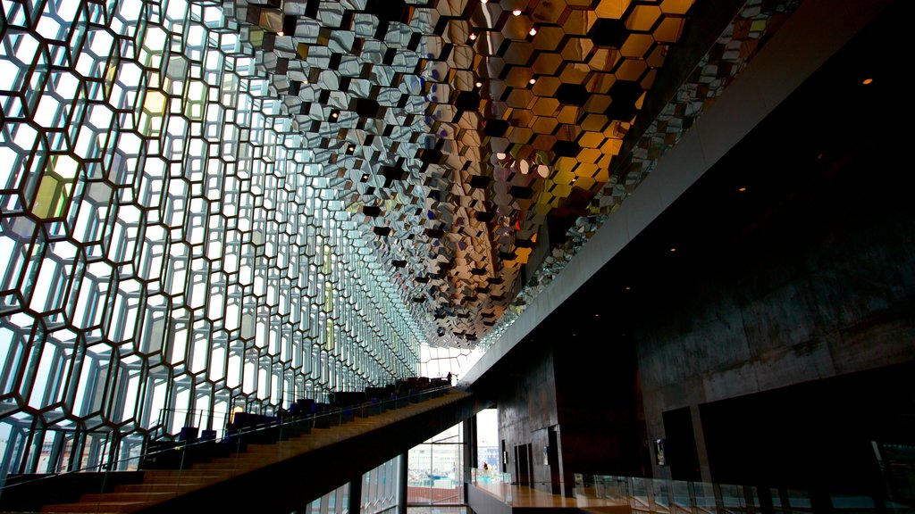 Harpa showing interior views and modern architecture