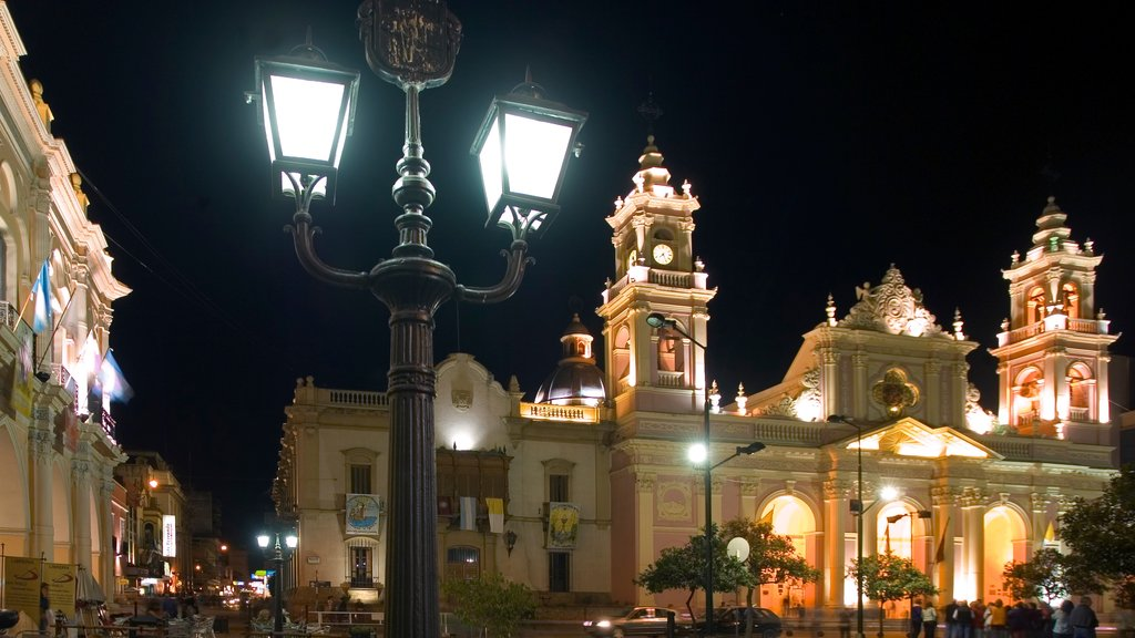 Salta featuring night scenes and a city