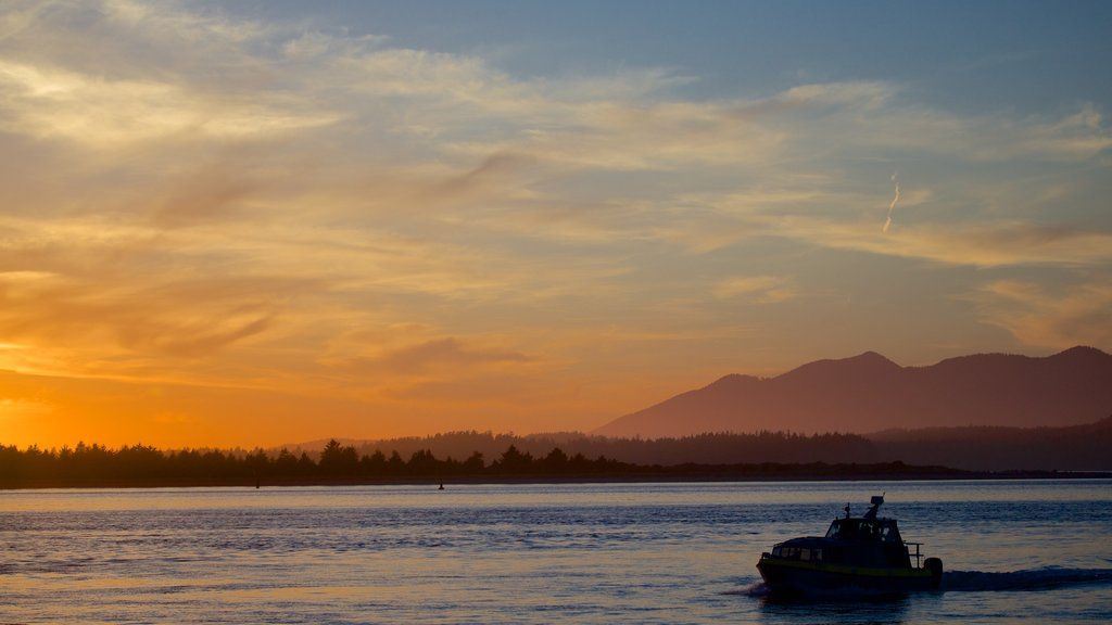 Tofino featuring boating, a sunset and general coastal views