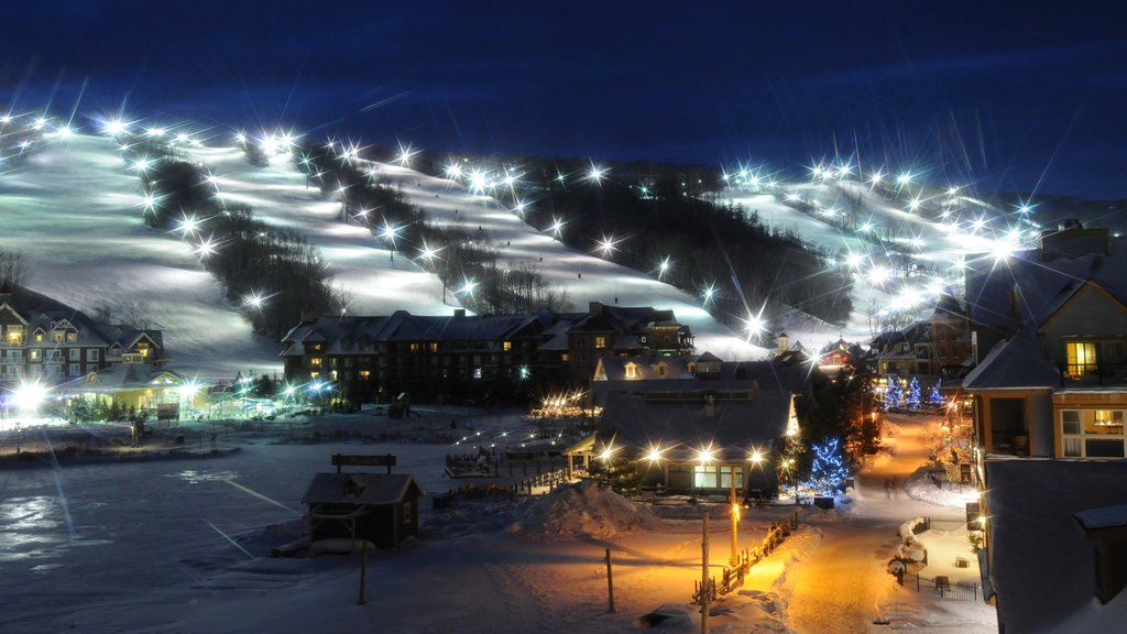 Blue Mountain Ski Resort which includes night scenes, a small town or village and a luxury hotel or resort