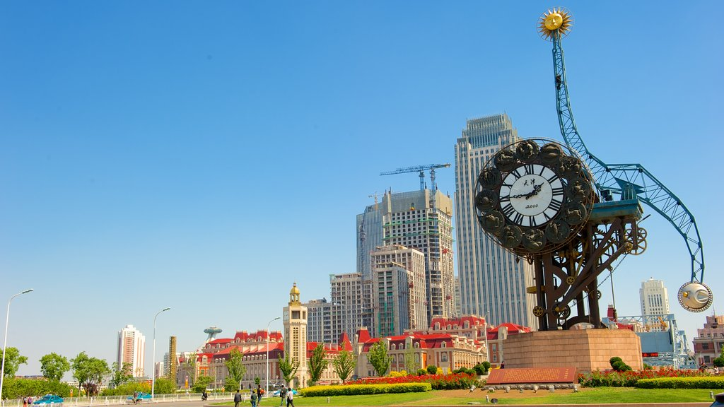 Tianjin featuring a square or plaza, a city and outdoor art