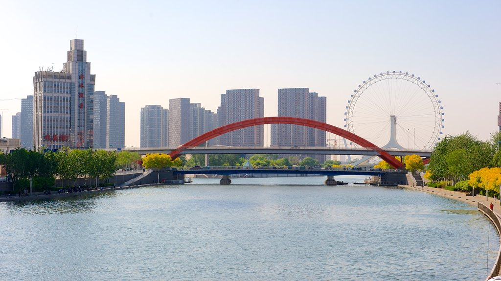 Tianjin Eye featuring central business district, a city and a river or creek