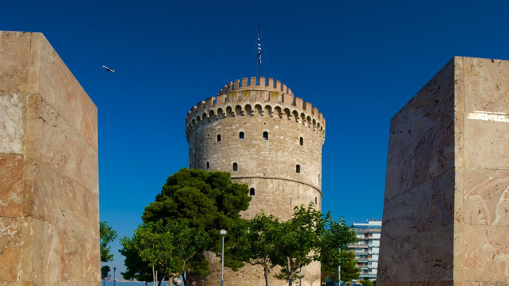 White Tower of Thessaloniki showing heritage elements