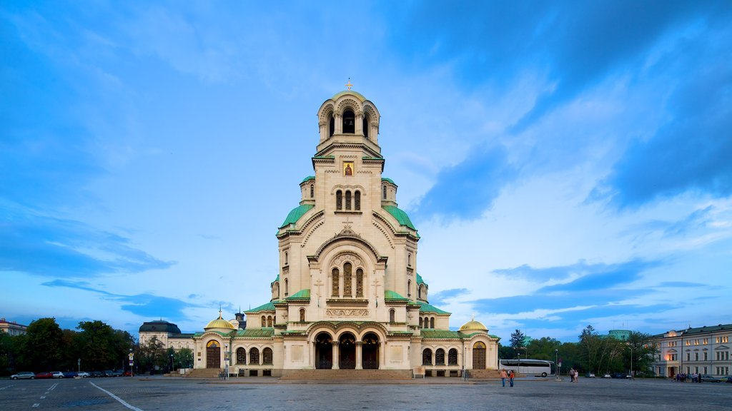 Alexander Nevski Cathedral featuring a square or plaza and a church or cathedral