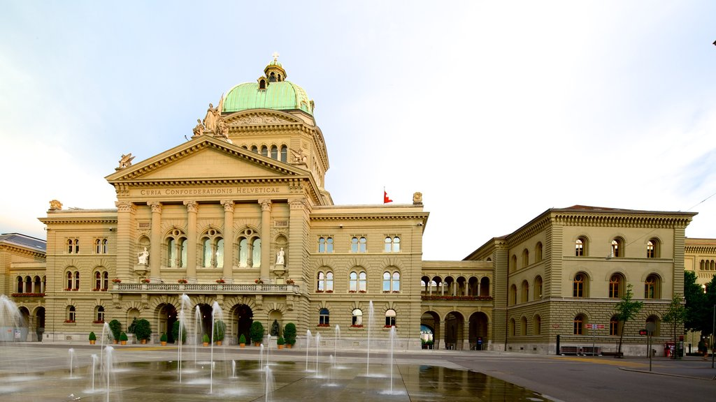 Bundeshaus which includes a square or plaza, an administrative buidling and a fountain
