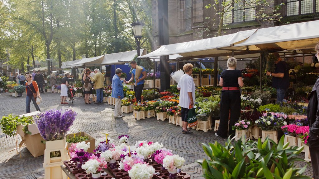 Utrecht which includes markets, flowers and street scenes