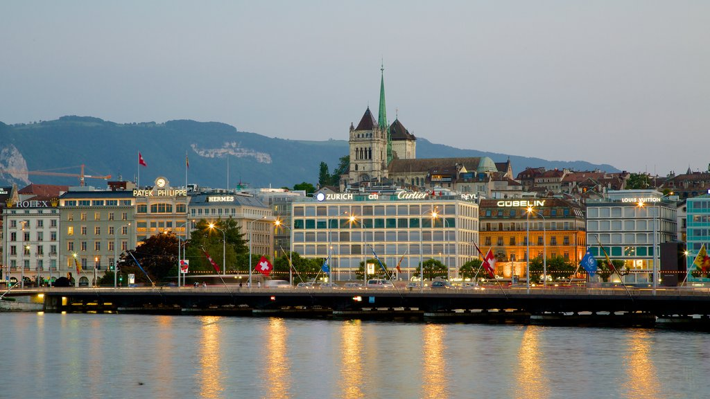Saint-Pierre Cathedral featuring central business district and a lake or waterhole