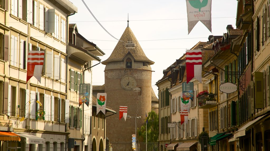 Morges showing a church or cathedral and street scenes