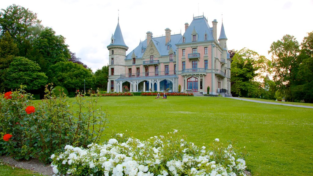 Schadaupark featuring chateau or palace, heritage architecture and a garden