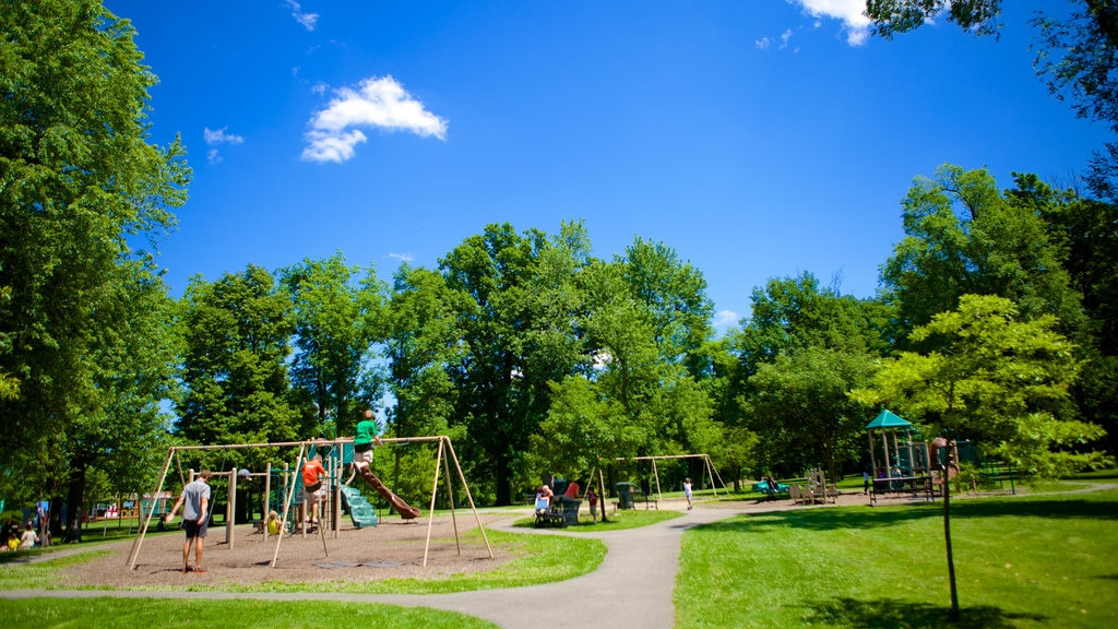 Delaware Park showing a playground and a garden