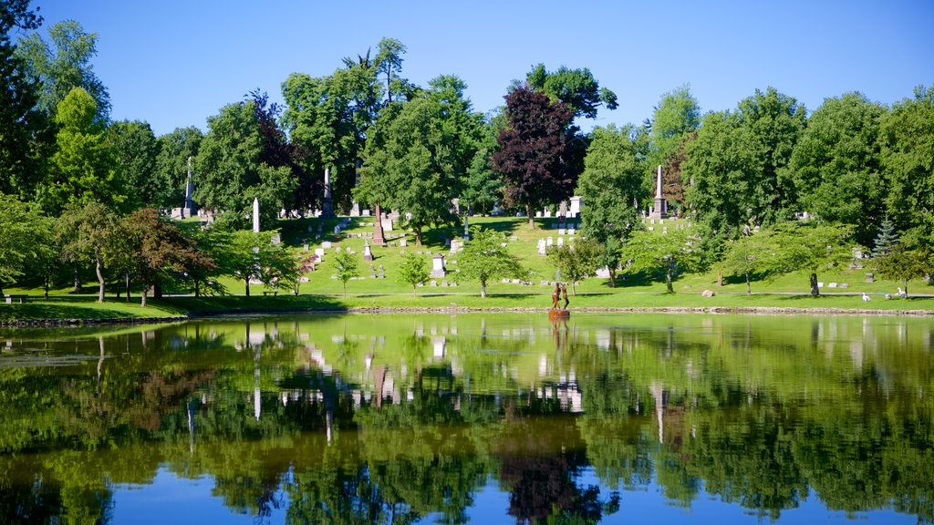 Forest Lawn Cemetery which includes a pond and a cemetery
