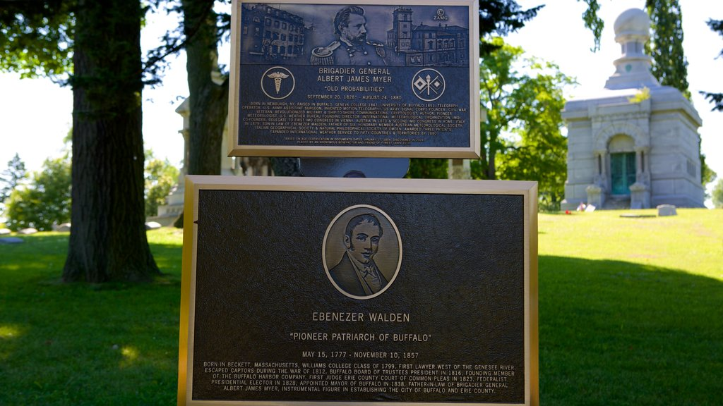 Forest Lawn Cemetery featuring a memorial and signage