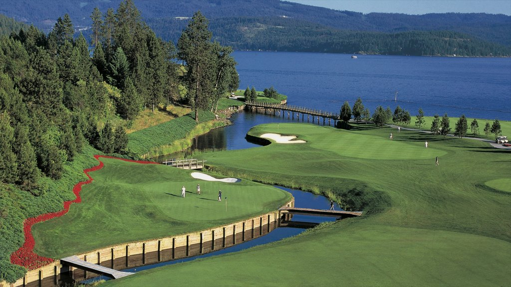 Coeur d\'Alene featuring a park, a lake or waterhole and golf