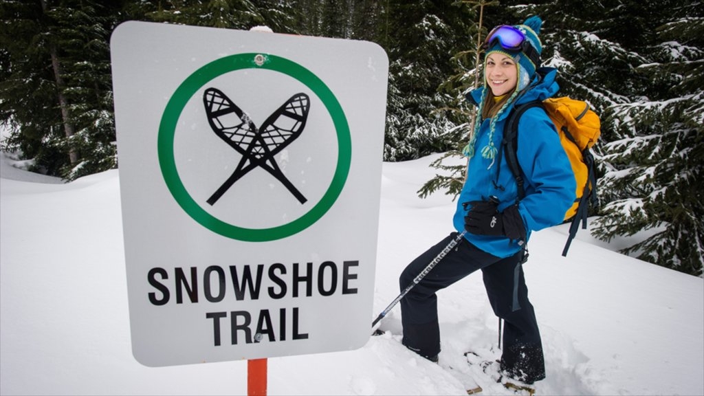 Whitewater Ski Resort which includes snow, signage and snow shoeing