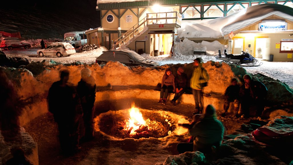 Whitewater Ski Resort showing snow, night scenes and nightlife