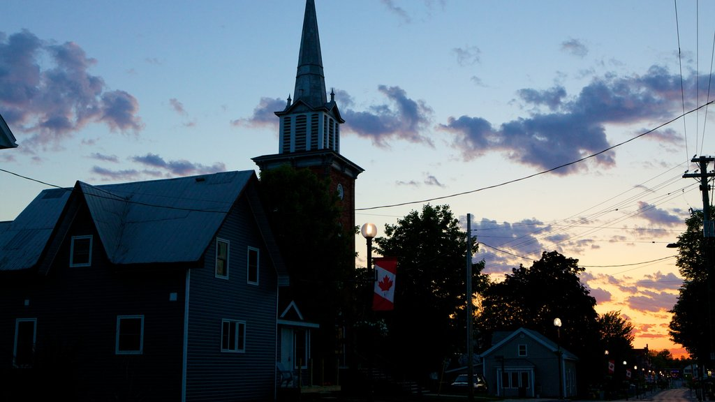 Kemptville featuring a small town or village and a sunset
