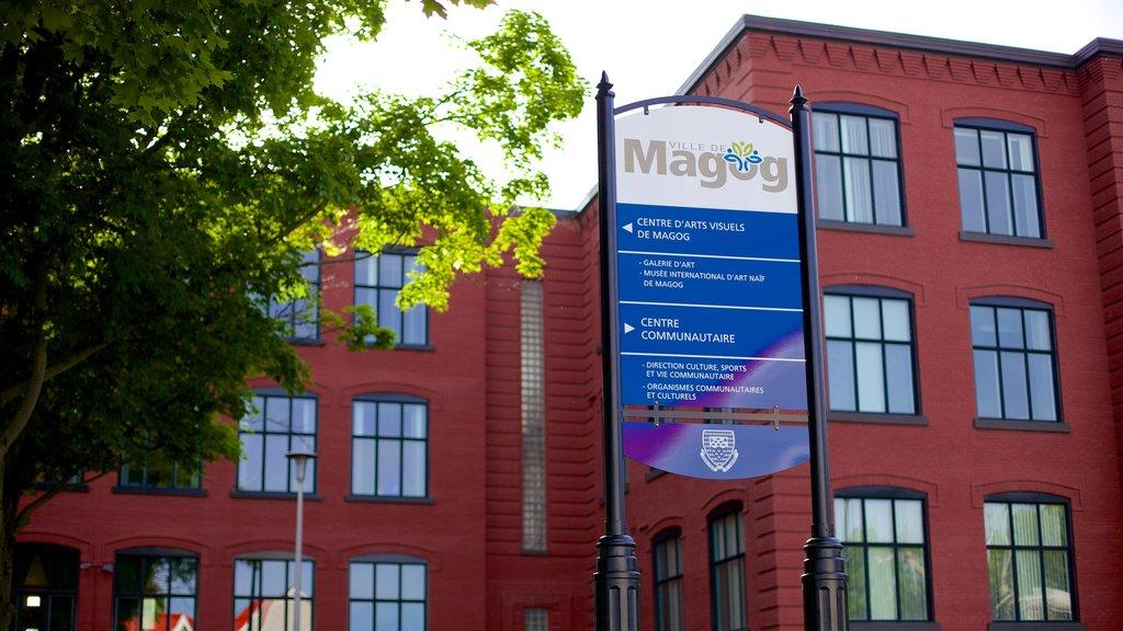 Magog featuring signage