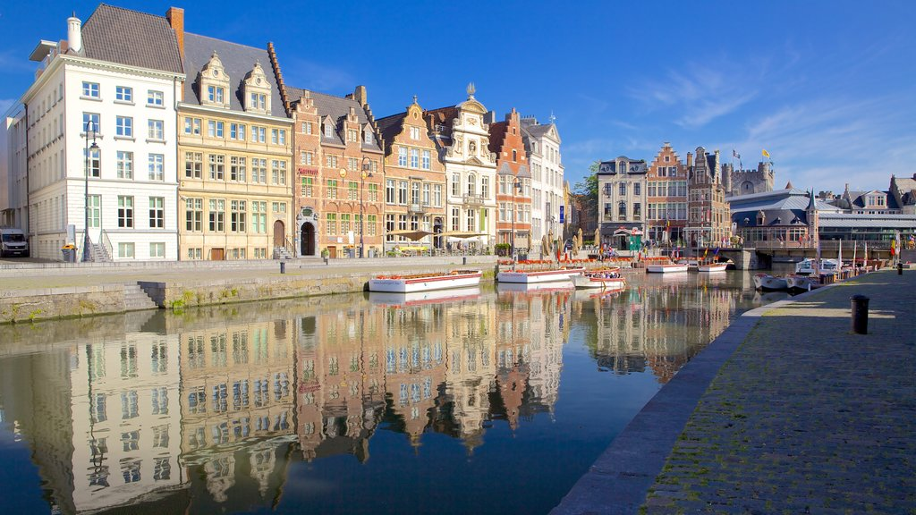 Ghent which includes a river or creek, a city and heritage architecture