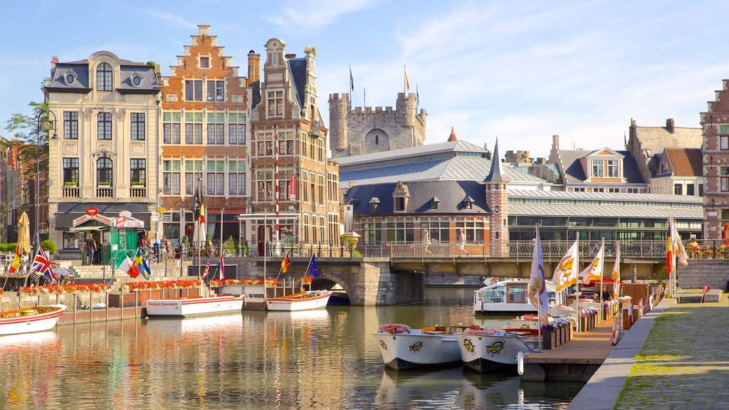 Ghent featuring a river or creek, a city and heritage architecture
