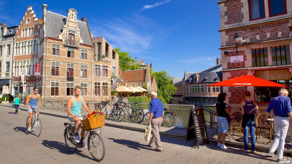 Ghent showing cycling, a city and heritage architecture