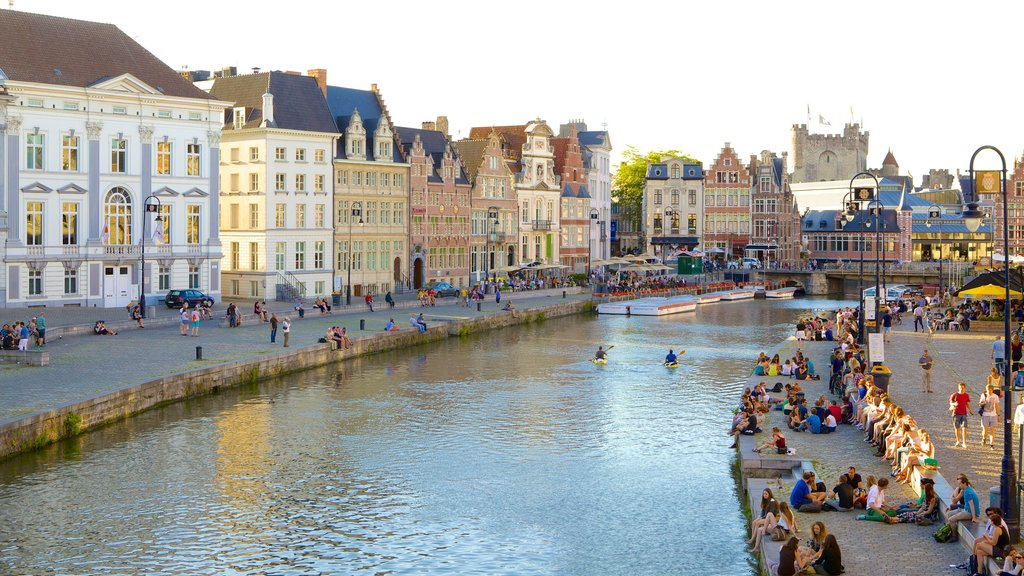 Ghent showing a river or creek, a city and heritage architecture