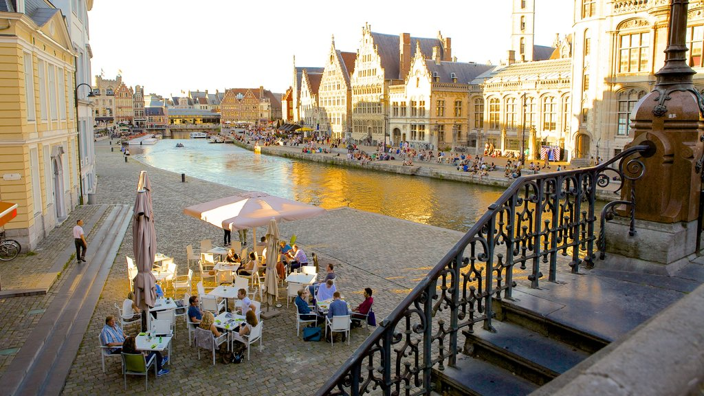 Ghent featuring heritage architecture, outdoor eating and a river or creek
