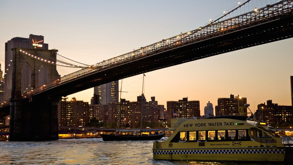 Brooklyn Bridge which includes a sunset, a city and a bridge