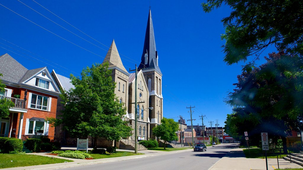 Woodstock showing a church or cathedral, heritage architecture and a small town or village