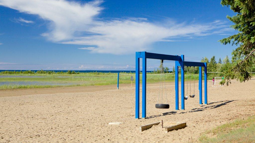 Blue Mountain Beach which includes a beach and a playground