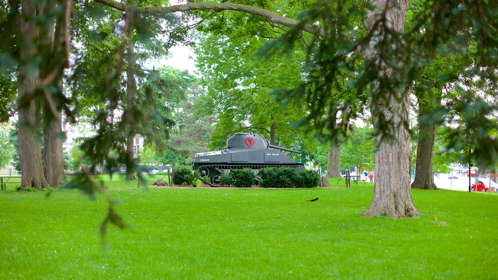 Victoria Park showing military items and a garden