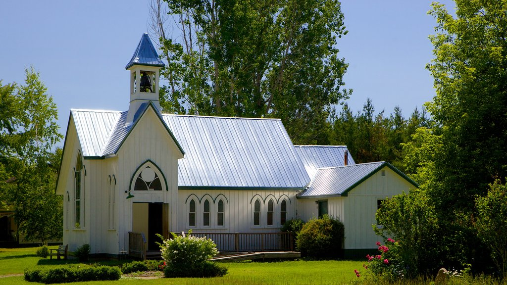 Fanshawe Pioneer Village showing heritage architecture, religious elements and a church or cathedral