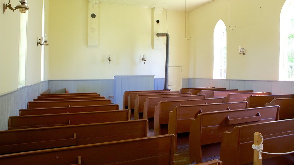Fanshawe Pioneer Village featuring a church or cathedral, religious aspects and interior views