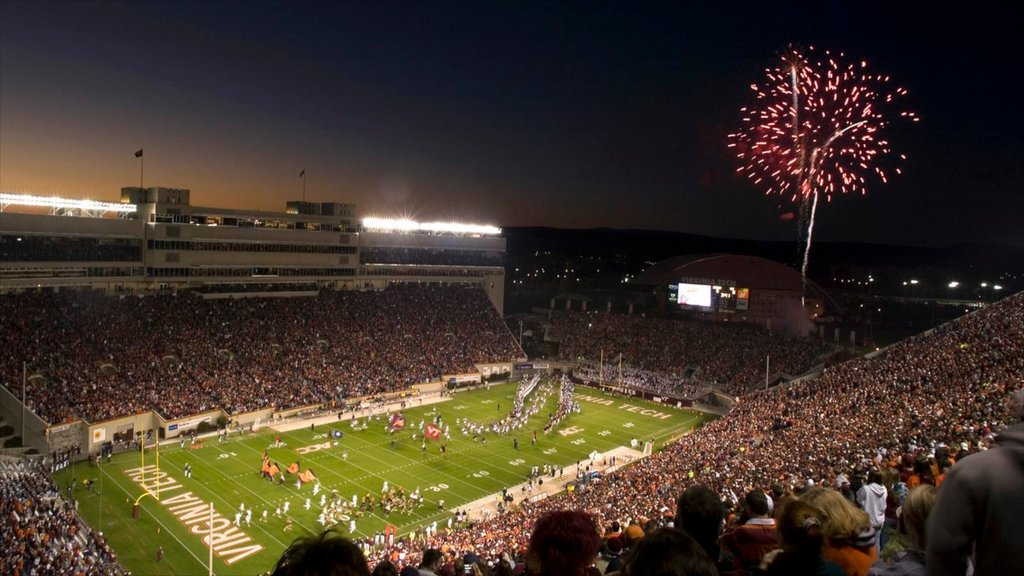 Blacksburg which includes night scenes, nightlife and a sporting event