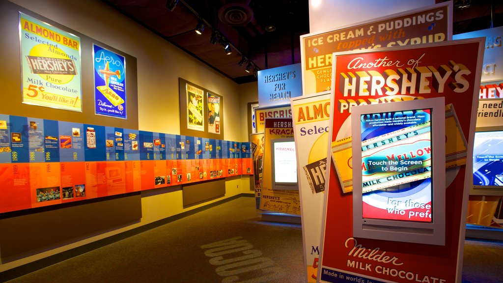 The Hershey Story Museum showing interior views and signage