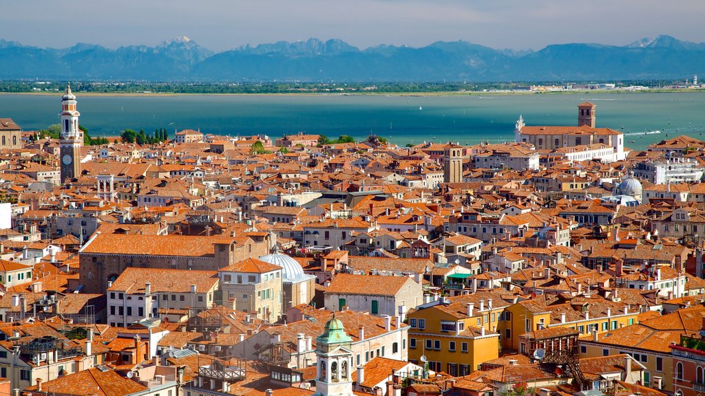 St Mark\'s Campanile showing a coastal town and heritage architecture