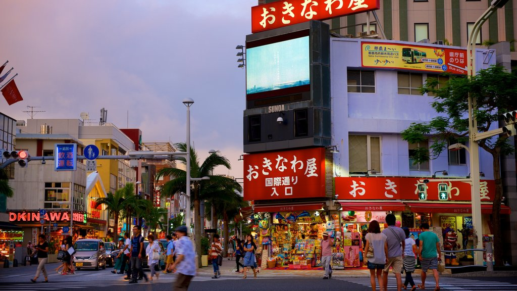 International Street which includes signage, street scenes and a sunset