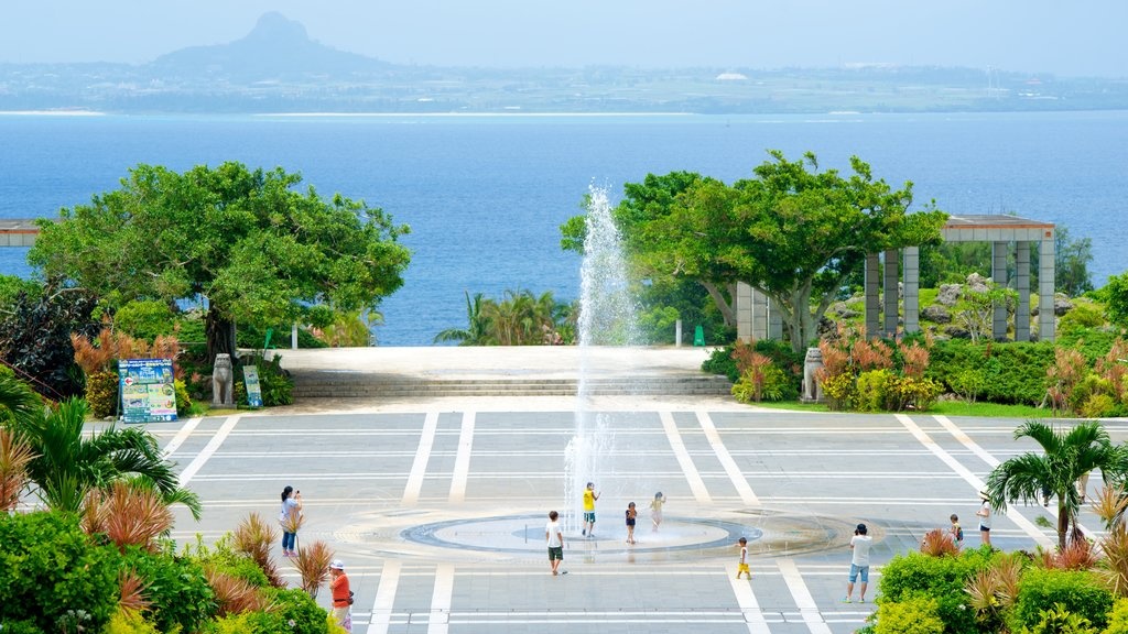 Ocean Expo Memorial Park which includes a fountain, general coastal views and a square or plaza